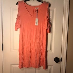 Red camel coral cold shoulder dress